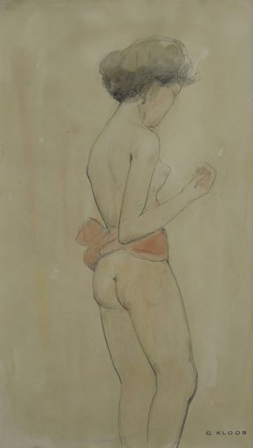 Cornelis Kloos | Nude with a red shawl, pencil and watercolour on paper, 30.7 x 17.9 cm, signed l.r. with artiost's stamp and executed on 16-2-1942