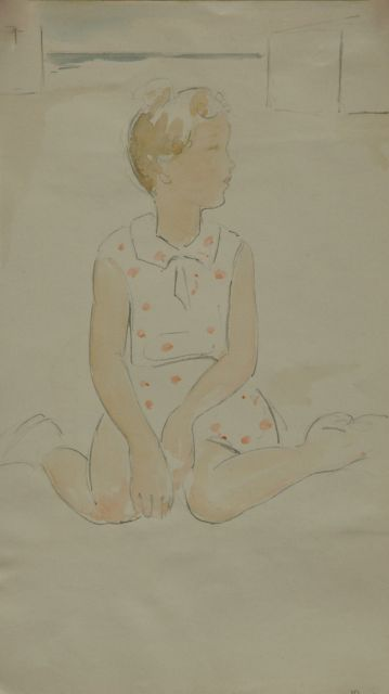 Cornelis Kloos | Girl in a red dotted dress, pencil and watercolour on paper, 30.8 x 17.9 cm, signed l.r.