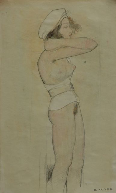 Cornelis Kloos | Nude with white jacket and white beret, pencil and watercolour on paper, 30.3 x 18.0 cm, signed l.r. with artist's stamp and executed on 12-2-1942