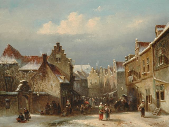 Petrus Gerardus Vertin | A market in winter, oil on panel, 23.1 x 30.2 cm, signed l.r. and dated '54