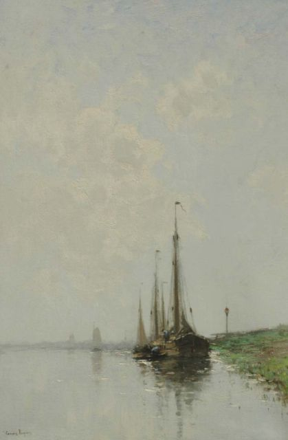 Cornelis Kuijpers | Sailing vessels in a calm, oil on canvas, 67.7 x 46.5 cm, signed l.l.