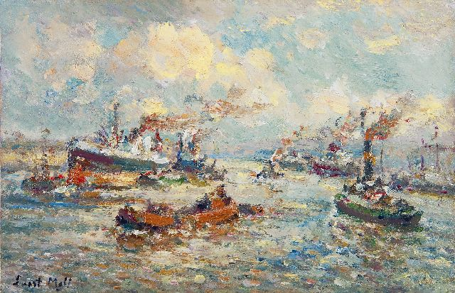 Evert Moll | A Rotterdam harbour scene, oil on panel, 23.0 x 35.0 cm, signed l.l.