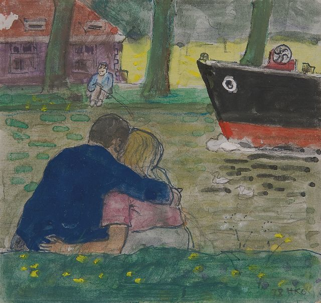 Harm Kamerlingh Onnes | A couple sitting on the banks of the Vliet in Delft, pen and watercolour on paper, 15.0 x 15.8 cm, signed l.r. with monogram and dated '78