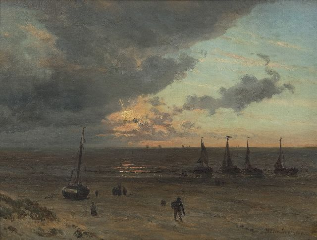 Willem van Deventer | A view of a beach with fishermen, oil on paper laid down on panel, 32.0 x 41.6 cm, signed l.r.