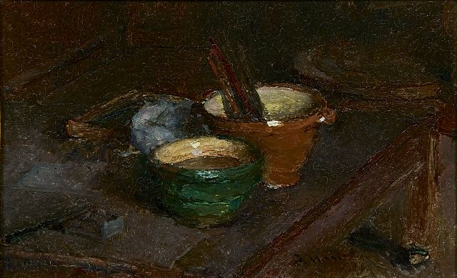Jacob Maris | A still life with pottery, oil on panel, 13.0 x 20.6 cm, signed c.r.