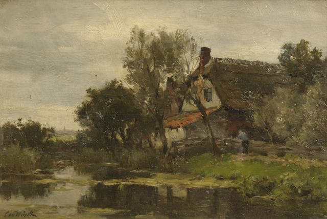 Chris van der Windt | Farm at the waterside, oil on panel, 21.2 x 31.0 cm, signed l.l.