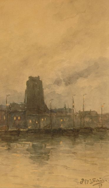 Willem Johannes Schütz | A view of Dordrecht, watercolour on paper, 29.4 x 17.5 cm, signed l.r. and dated '97 (1897)