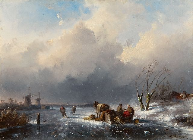 Charles Leickert | Land folk by a sledge on a frozen river, oil on panel, 15.2 x 20.7 cm, signed l.r.
