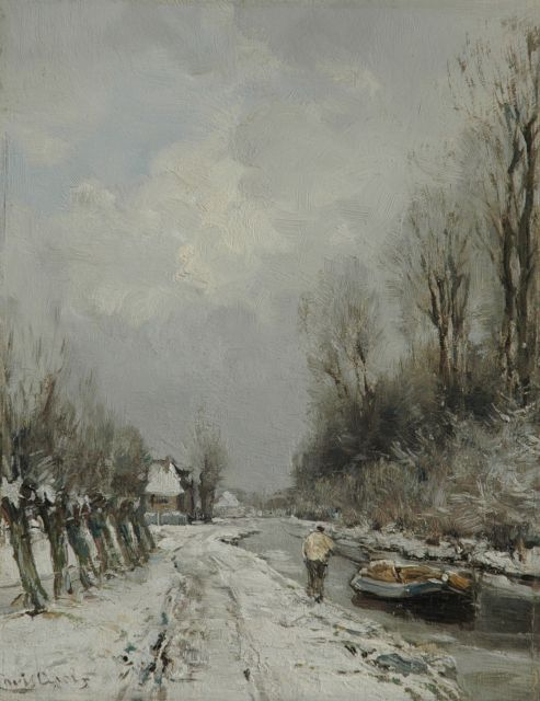 Louis Apol | A canal in the snow, oil on panel, 28.1 x 21.9 cm, signed l.l.