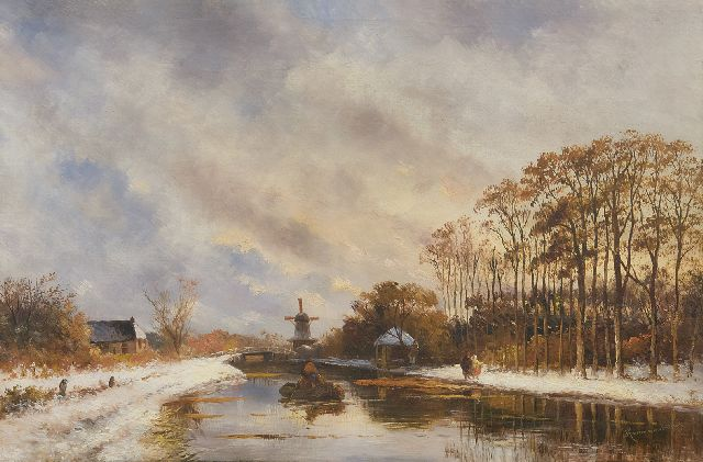 Prooijen A.J. van | A canal in winter, oil on canvas 43.2 x 65.4 cm, signed with l.r. signature 'Kruseman van Elten'