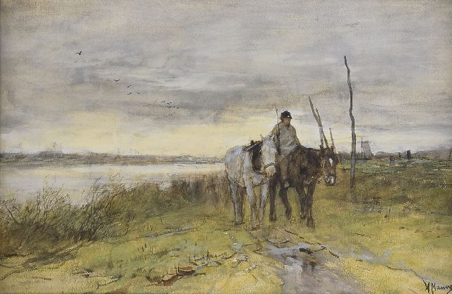 Anton Mauve | Horses along a towpath, watercolour on paper, 27.0 x 42.1 cm, signed l.r. and painted in the 1870's
