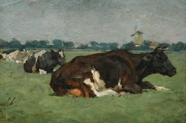 Jan Voerman sr. | Cows in a meadow, oil on canvas laid down on panel, 18.9 x 28.1 cm, signed l.l. with initials