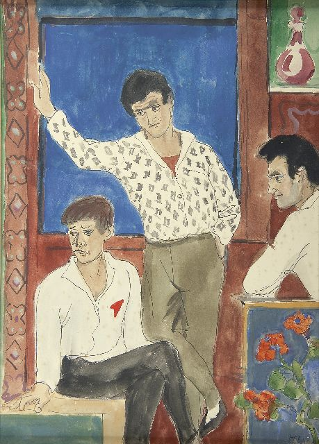 Harm Kamerlingh Onnes | Three friends, watercolour on paper, 35.5 x 25.0 cm, signed l.r. with monogramme