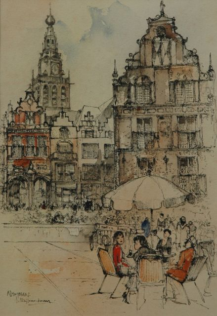 Jan Rijlaarsdam | A terrace on the Grote Markt, Nijmegen, pen and ink and watercolour on paper, 25.2 x 17.7 cm, signed l.l.