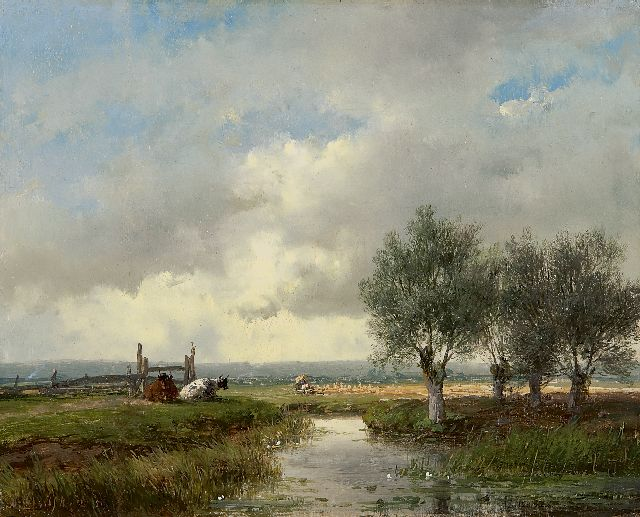 Andreas Schelfhout | A summer landscape with cattle and harvesting farmers, oil on panel, 18.0 x 22.3 cm, signed l.l. and dated '51