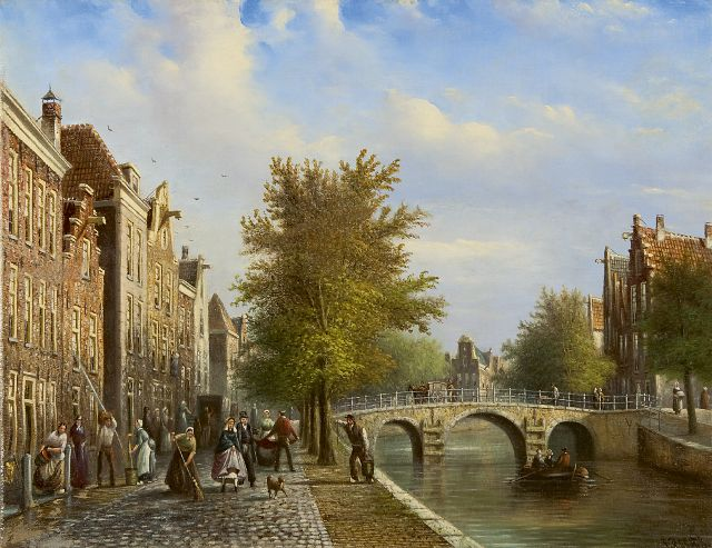 Johannes Franciscus Spohler | Daily cleaning along a Dutch canal, oil on canvas, 35.0 x 45.2 cm, signed l.r.