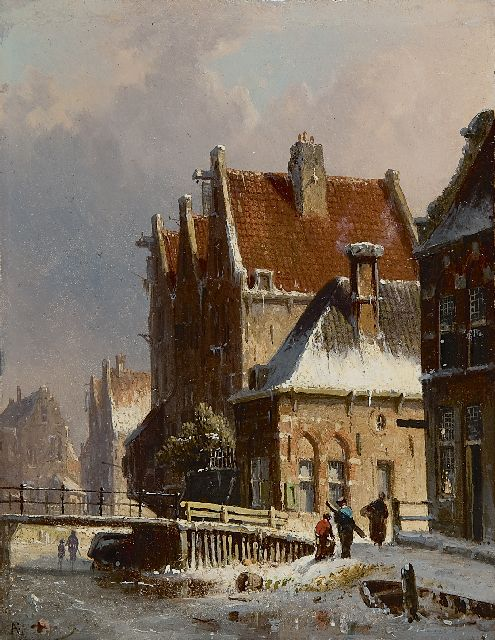 Adrianus Eversen | A snow covered canal in a Dutch town, oil on panel, 19.1 x 14.7 cm, signed l.l. with monogram