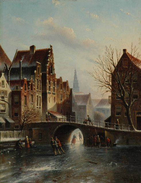 Johannes Franciscus Spohler | A town view in winter with the tower of the Amsterdam Zuiderkerk, oil on panel, 39.1 x 30.3 cm, signed l.r.