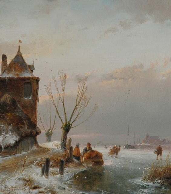 Andreas Schelfhout | Skaters near a fortified tower, oil on panel, 18.6 x 16.6 cm, signed l.l. and dated '46