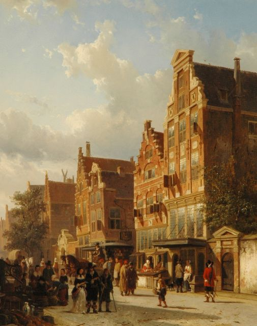 Springer C.  | The quasi-house of Rembrandt on the Sint Anthoniebreestraat, Amsterdam, with the entry of the Zuiderkerkhof, oil on panel 50.6 x 40.4 cm, signed l.l. in full en with mon. l.l. on box and dated 1853