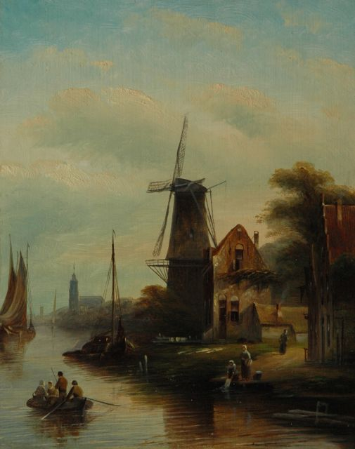 Jacob Jan Coenraad Spohler | A river landscape with a windmill, oil on panel, 27.1 x 21.3 cm