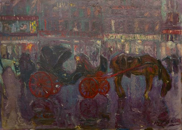 Niekerk M.J.  | Waiting carriages by night, Brussels, oil on board 61.3 x 84.5 cm, signed l.r.