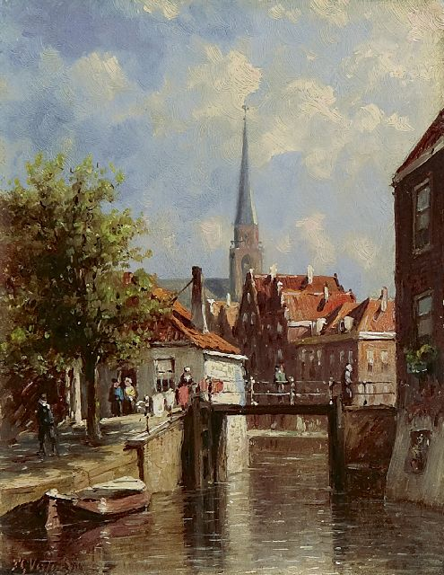 Petrus Gerardus Vertin | A view of the Romeijnbrug in Oudewater, oil on panel, 14.7 x 11.4 cm, signed l.l. and dated '86