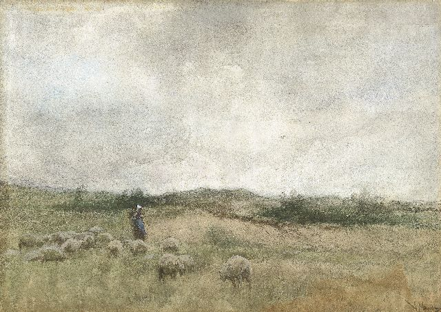Anton Mauve | A shepherdess tending to her flock, watercolour on paper, 25.7 x 36.3 cm, signed l.r.