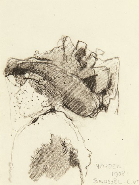 Cornelis Vreedenburgh | The latest hat fashion in Brussels, 1908, black chalk on paper, 13.2 x 10.2 cm, signed l.r. with initials and dated 1908
