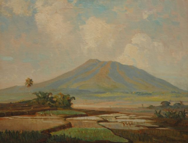 Ernest Dezentjé | Pickers in the ricefields near a vulcano, oil on canvas laid down on board, 46.9 x 60.5 cm, signed l.r. and dated '28