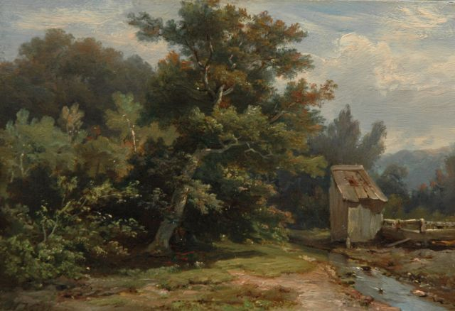 Hermanus Koekkoek | A wooded landscape with a stream and shed, oil on panel, 14.1 x 20.1 cm, signed l.l.