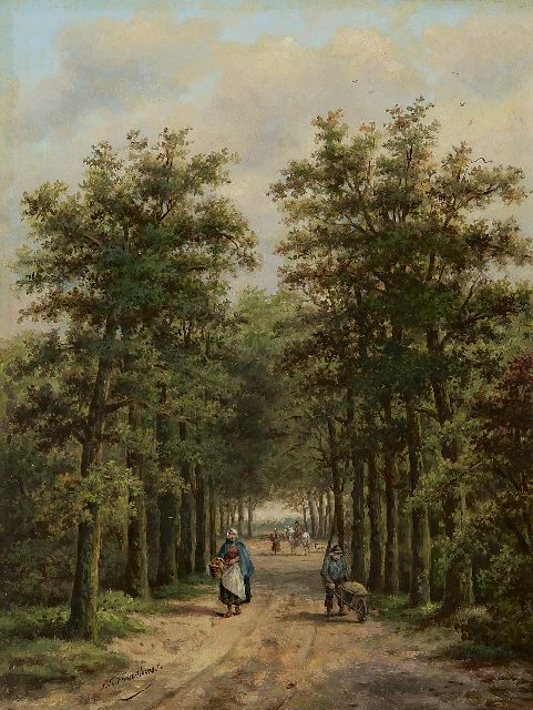 Sebastiaan Theodorus Voorn Boers | Land folk on a sunny forest path, oil on panel, 34.0 x 25.6 cm, signed l.l.