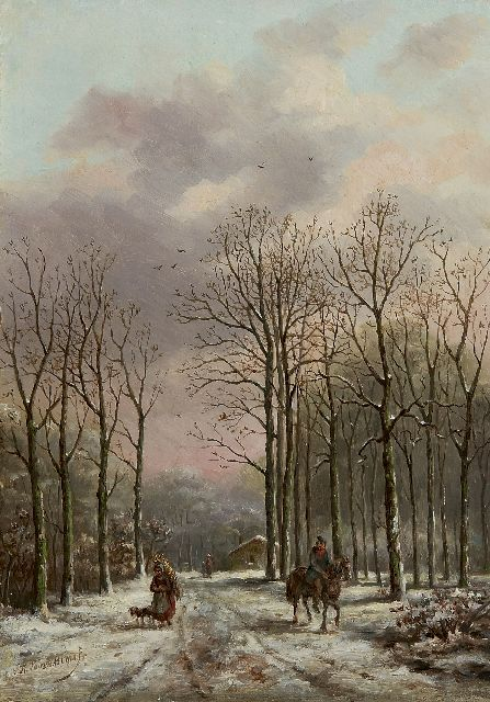Sebastiaan Theodorus Voorn Boers | A wooded path with figures, oil on panel, 32.6 x 24.3 cm, signed l.l.