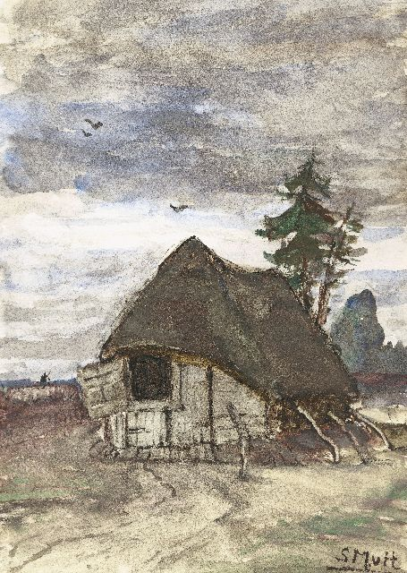 Sientje Mesdag-van Houten | Sheepfold in Drenthe, watercolour on paper, 27.1 x 19.0 cm, signed l.r. with initials