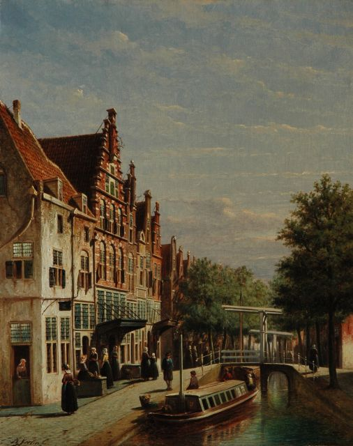 Petrus Gerardus Vertin | A Dutch town with the Huis met de Schopjes, Alkmaar, oil on canvas, 63.1 x 50.9 cm, signed l.l.