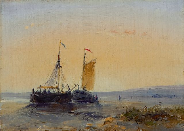 Josephus Gerardus Hans | Two fishing vessels on the beach at sunset, oil on panel, 9.0 x 12.5 cm