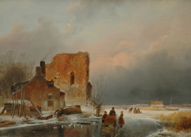 Andreas Schelfhout | Winterlandscape with skaters, oil on panel, 27.0 x 36.0 cm, signed l.l., and with a brandmark on the reverse and dated 1839 on the reverse