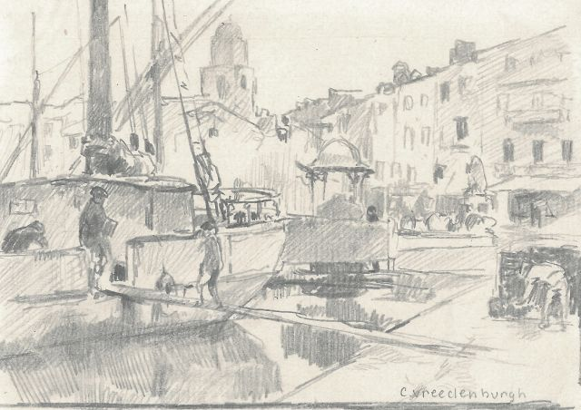 Cornelis Vreedenburgh | A view of a harbour, pencil on paper, 9.3 x 14.9 cm, signed l.r.