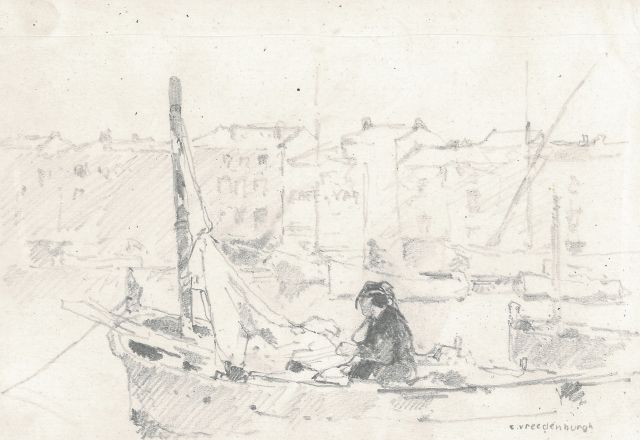 Cornelis Vreedenburgh | A fishing port, pencil on paper, 12.4 x 19.4 cm, signed l.r.