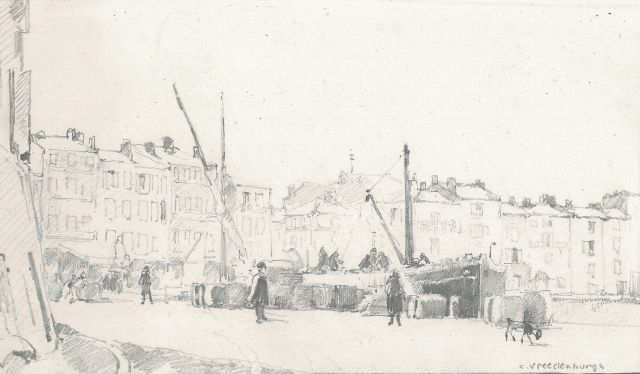 Cornelis Vreedenburgh | Loading and unloading onto the quay, pencil on paper, 10.9 x 18.9 cm, signed l.r.