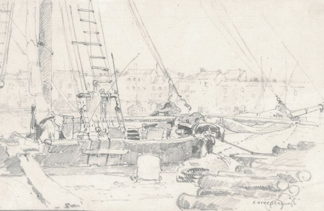 Cornelis Vreedenburgh | A cargo ship at the quay, pencil on paper, 12.7 x 19.9 cm, signed l.r.