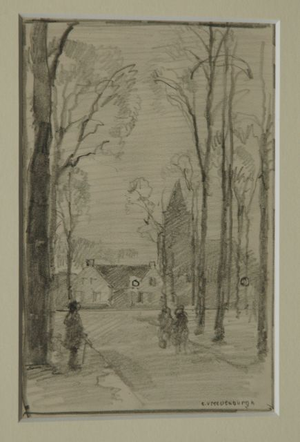 Cornelis Vreedenburgh | A view of the village Laren, pencil on paper, 19.0 x 12.8 cm, signed l.r.