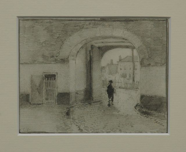 Cornelis Vreedenburgh | A figure walking through a towngate, pencil on paper, 12.5 x 15.8 cm, signed l.l. with initials