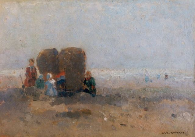 Aris Knikker | Figures on the beach, oil on painter's board, 19.5 x 28.0 cm, signed l.r.