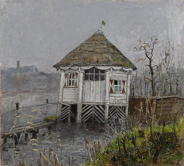 Harm Kamerlingh Onnes | A pavilion by the water, oil on canvas laid down on panel, 33.1 x 36.5 cm, signed l.l. with init and in full on a sticker on the rev and dated '48