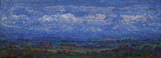 Adriaan Herman Gouwe | Landscape under blue sky (Limburg), oil on canvas, 47.2 x 127.3 cm, signed l.r. and dated 1919