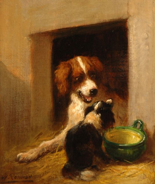 Henriette Ronner-Knip | The visitor, oil on panel, 17.4 x 14.7 cm, signed l.l.