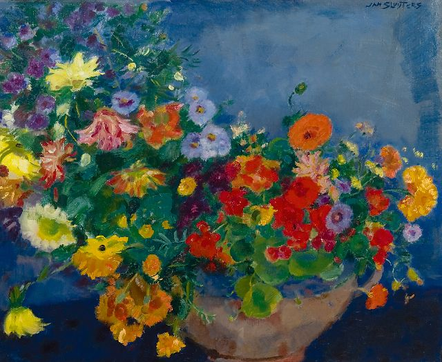 Sluijters J.C.B.  | Colourful flowers, oil on canvas 60.0 x 72.9 cm, signed u.r. and painted ca. 1948