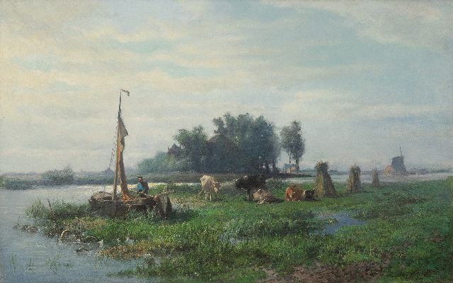 Mauve A.  | A farmer in a polder landscape, oil on canvas 40.5 x 64.0 cm, signed l.r. and painted ca. 1870