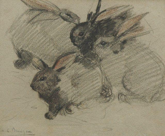 Greta Bruigom | Four rabbits, chalk on paper, 24.1 x 29.0 cm, signed l.l.